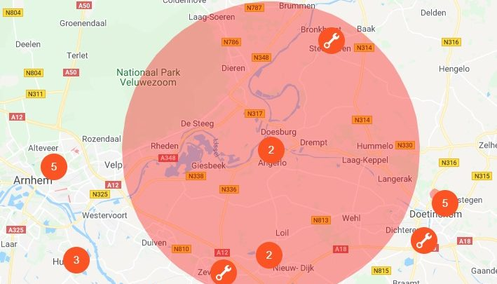 Grote waterstoring in groot gedeelte van de Liemers en omgeving